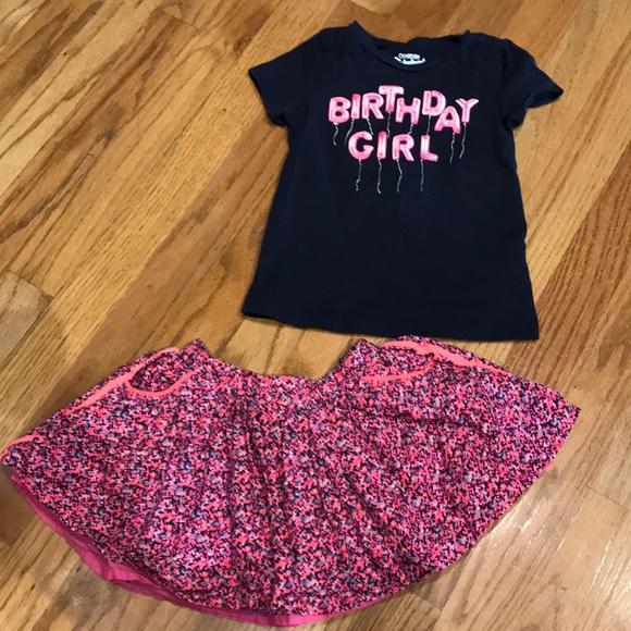 Oshkosh Girls Birthday Skirt Tee Set